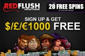 Red Flush Casino 20 free spins and 175% up to €1000 bonus