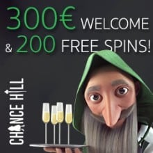 Chance Hill Casino 200 free spins and €300 free bonus money