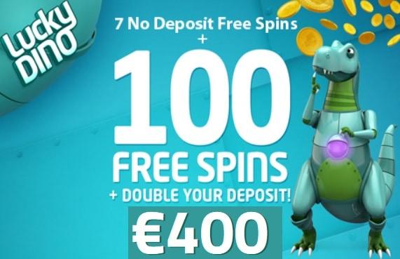 LuckyDino 20 free spins (no deposit) + 100 gratis spins + 400 euro free bonus