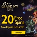 Grand Ivy Casino 120 free spins (exclusive) and £1500 free bonus