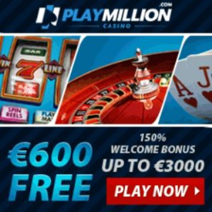 PlayMillion Casino 125 free spins and €3000 free bonus