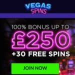 Vegas Spins Casino 60 free spins and 200% bonus up to £500