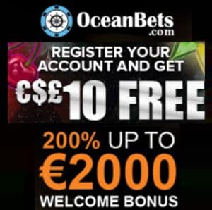 OceanBets Casino - €10 gratis free spins & 200% up to €2000 free bonus
