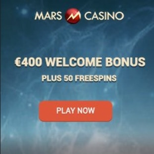 Mars Casino | 50 free spins and 175% up to €400 or 3 BTC bonus
