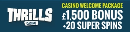 Thrills Casino 40 free spins plus €1050 welcome bonus