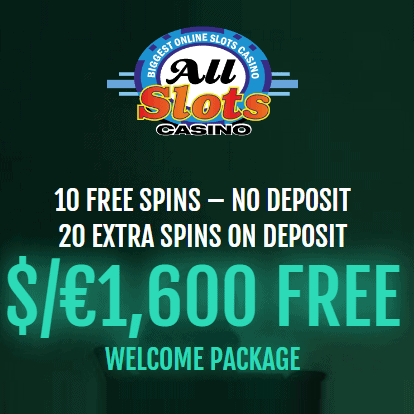 All Slots Casino 30 free spins and €1600 free bonus