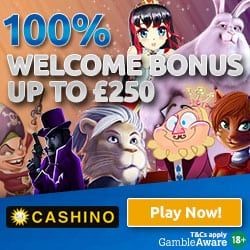 100% up to £250 cash bonus and 50 free spins
