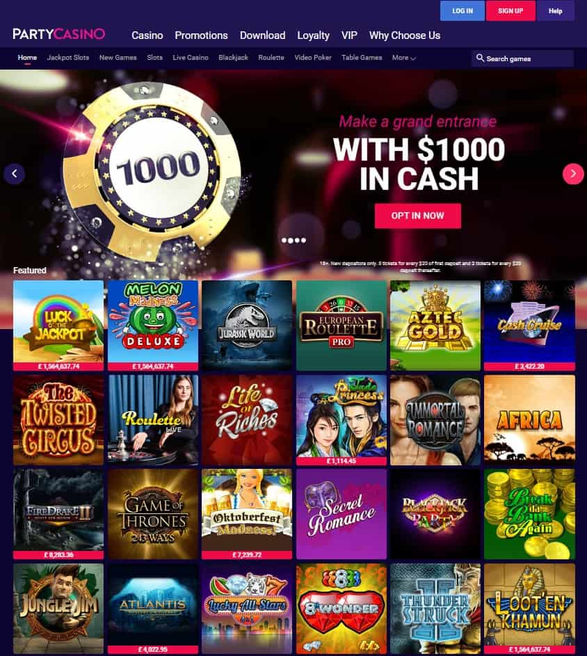 PartyCasino Review : 20 free spins no deposit bonus