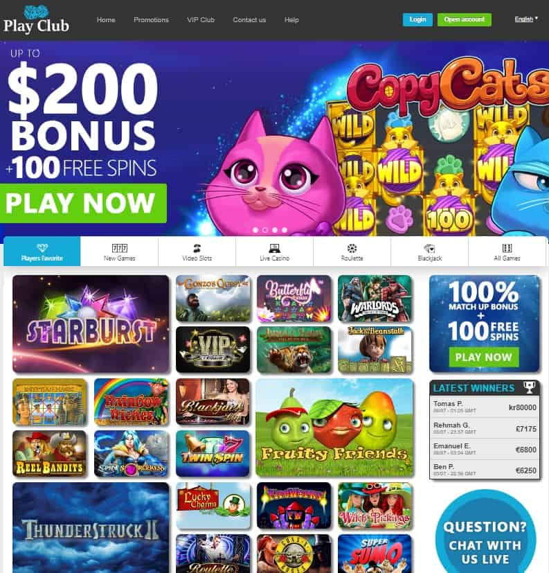 Play Club Casino Review: 100 free spins and 100% free bonus