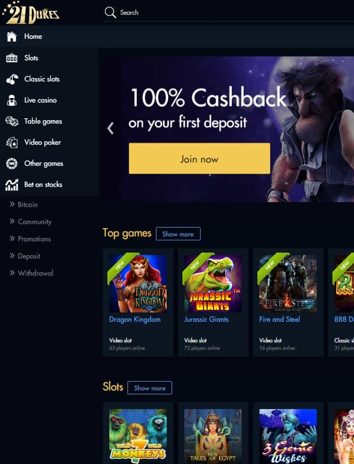 Casino Dukes Review – Play 100+ Unique Casino Games