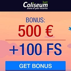 Coliseum Bet Casino - 100 free spins and $500 cash bonus on 1st deposit