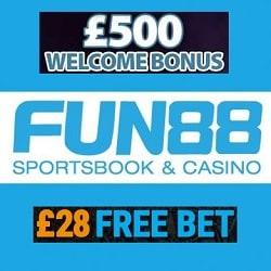 Fun88 Casino & Sports - £28 free bet & 150% up to £500 slot bonus