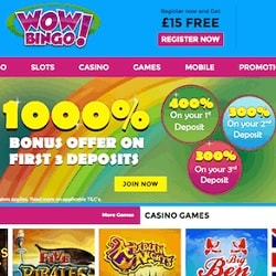 Wow Bingo Casino £15 no deposit required + 1000% free bonus