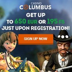 Columbus Casino 195 free spins & 195% up to 650 EUR free bonus