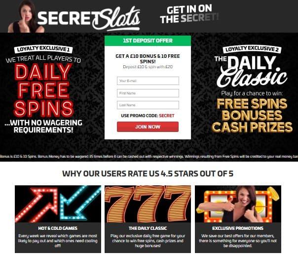 Secret Slots Online Casino free spins bonus