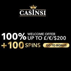 Casinsi Casino Review | 100 free spins + £/€/$ 200 welcome bonus