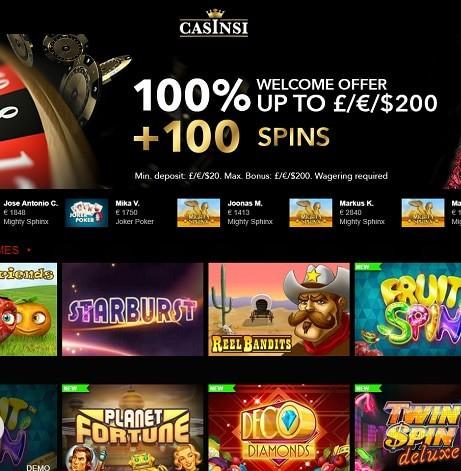 Casinsi free spins bonus