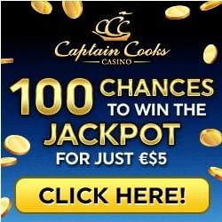 Captain Cooks Casino 100 free spins + 275% up to €475 free bonus