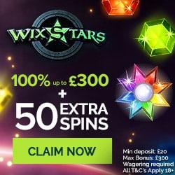 Wixstars Casino 50 bonus spins and 100% free bonus - UK approved