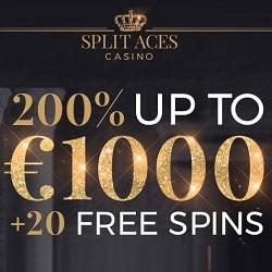 Split Aces Casino 20 free spins & 200% up to €1,000 first deposit bonus