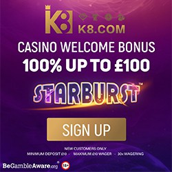 K8.com UK Casino & Sportsbook: 100% bonus & free play games