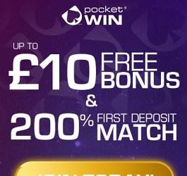 PocketWin Casino (UK) £10 free bonus on mobile - no deposit required