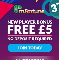 mFortune Casino - £5 no deposit bonus for mobile players from UK