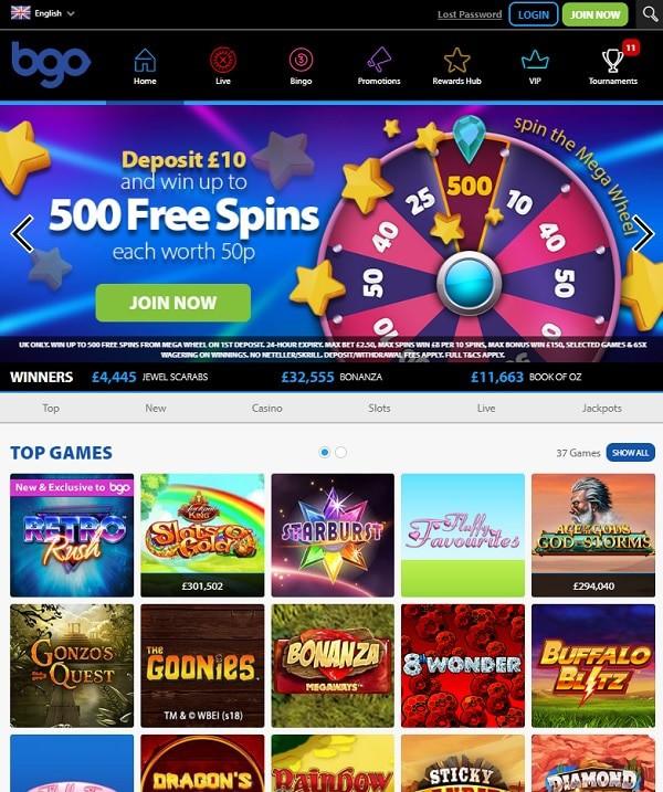 BGO.com free spins