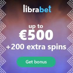 LibraBet Casino 100% up to €500 bonus and 200 free spins