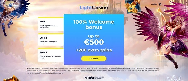 Light Casino welcome bonus