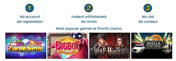 Pronto Casino - no account, no registration, BankID, Pay N Play