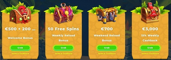 Wazamba Casino welcome bonus and free spins
