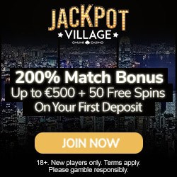 Jackpot Village Casino 95 free spins and €1800 welcome bonus
