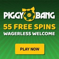 Piggy Bang Casino 55 free spins wagerless welcome bonus