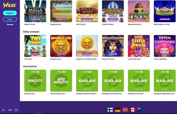 Wildz Casino Website Review