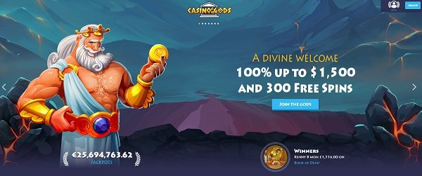 Casino Gods welcome bonus and free spins