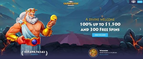 Casino Gods welcome bonus and free spins