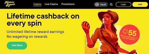 Fortune Legends Casino welcome bonus