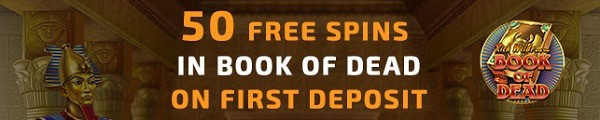 1st deposit bonus: 50 free spins on Book of Dead (Play n'Go slot).