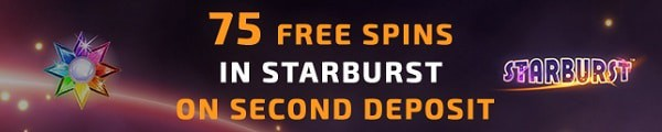 2nd deposit bonus: 75 free spins on Starburst (Netent).