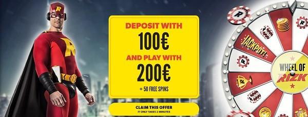 100% bonus and 50 gratis spins (welcome bonus)