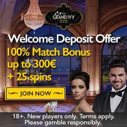 Grand Ivy Casino 100 free spins and €1500 welcome bonus