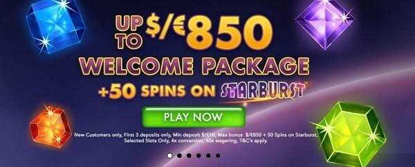 50 free spins on Starburst