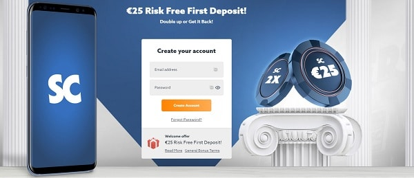 25 EUR risk free bet or free spins welcome bonus