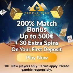 Temple Nile Casino 30 free spins and €500 welcome bonus