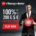 Vegas Hero Casino 50 Free Spins and €1000 Welcome Bonus