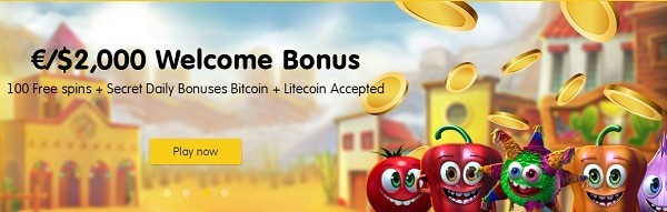 €/$2000 welcome bonus with 100 free spins for new players