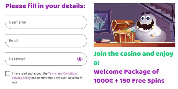 Boo register and play! Get 150 free spins and 1,000 EUR welcome bonus!