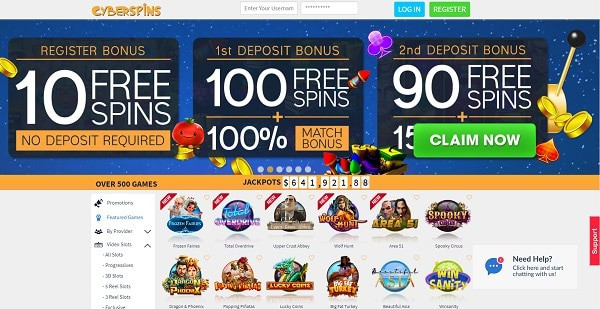 Cyberspins $1250 + 110 free spins welcome bonus