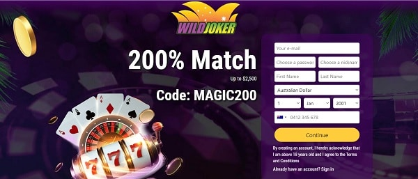 WildJoker.com 200% bonus and free bonus codes